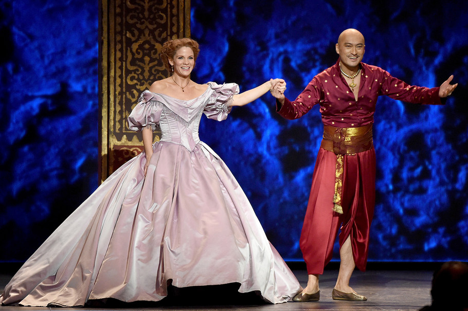 NEW YORK, NY - JUNE 07: Kelli O'Hara and Ken Watanabe perform with the cast of the King and I onstage at the 2015 Tony Awards at Radio City Music Hall on June 7, 2015 in New York City. (Photo by Theo Wargo/Getty Images for Tony Awards Productions)